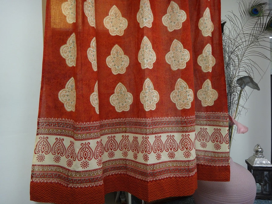 Mughal Glory~Irresistible Red & Coral Rose Window Curtains ~ Exotic Indian Sheer Window Curtains