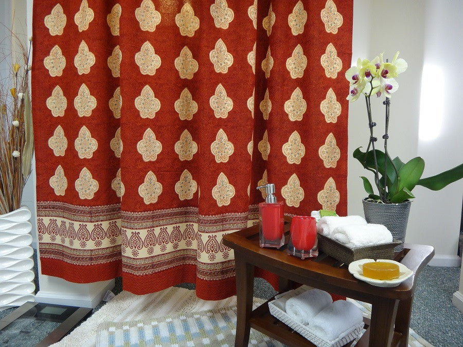 Mughal Glory ~ Irresistibe Red & Coral Rose Shower Curtain~Exotic ...