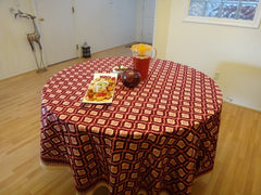 Mohana~Wine & Coral Moroccon Round Table Cloth~Exclusive Govinds Grove