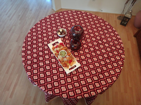Mohana~Wine & Coral Moroccon Round Table Cloth~Hand Block Printed