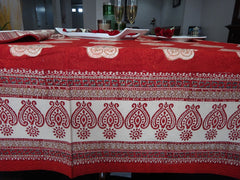Mughal Glory~Red Indian Rectangular Table Cloth~Govinds Grove~Gorgeous Border