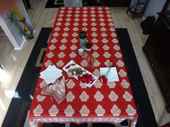 Mughal Glory~Red Indian Rectangular Table Cloth~Govinds Grove~Hand Block Printed~Christmas Dinner