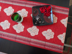 Mughal Glory~Irresistible Red & Coral Rose~Exotic Indian Table Runner