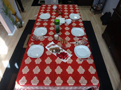 Mughal Glory~Red Indian Rectangular Table Cloth~Govinds Grove~Full Table View