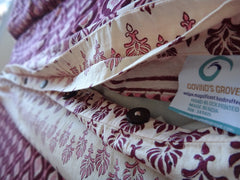 Mohana Duvet Cover~Wine&Coral~Hand Block Printed by Govinds Grove