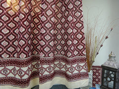 Mohana Window Curtains~Border~HandBlock Printed-Soft Cotton Voile