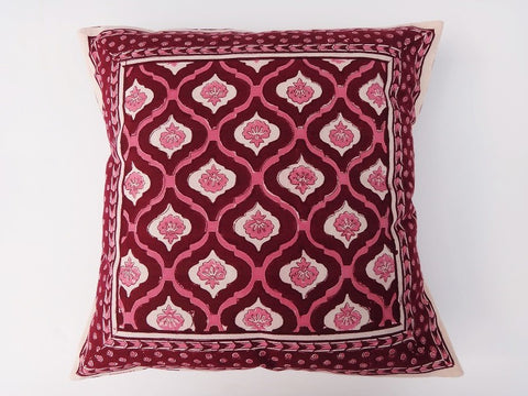 Mohana Cushion Cover~In Wine & Coral~HandBlock Printed