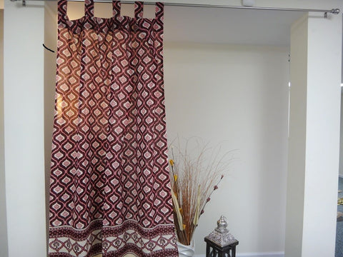 Mohana Window Curtains~In Wine & Coral~HandBlock Printed