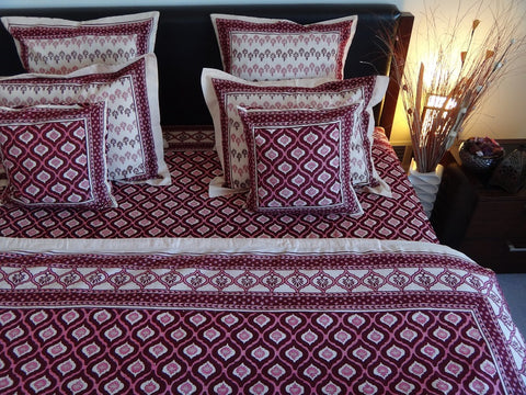 Mohana Duvet Cover~Wine&Coral~Hand Block Printed~Pure Cotton