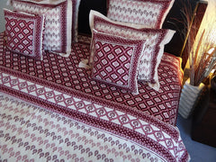 Mohana Duvet Cover~Wine&Coral~With Coordinated Pillow Sham Display~Hand Block Printed