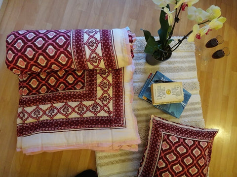 Mohana~Wine & Calypso Coral Quilt~Pure Cotton~Hand Block Printed