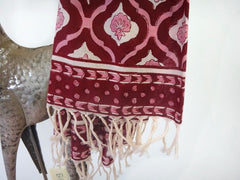 Mohana Scarf-Hand Block Printed On Cotton Voile-Border + Close Up View