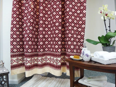 Mohana Shower Curtain~Hand Block Printed~Border