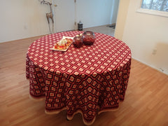 Mohana~Wine & Coral Moroccon Round Table Cloth~Handmade Cotton