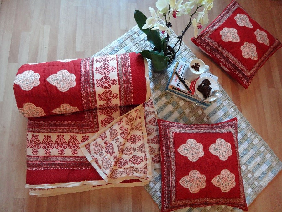 Mughal Glory~Luscious Red & Coral Rose~Exotic Indian Quilt