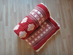 Mughal Glory~Designer Red & Coral Rose Quilt~Rolled View