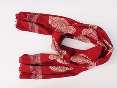 Mughal Glory Red Scarf - Handmade - Around The Neck View