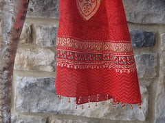 Mughal Glory Red Scarf - Handmade -Border + Close-Up View