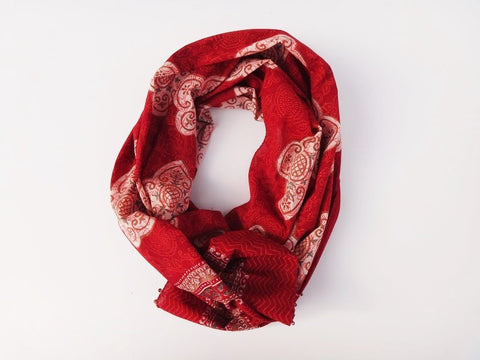 Mughal Glory Red Scarf - Handmade - Rolled View