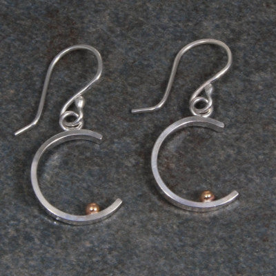 Silver and Gold Crescent Earrings