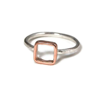 Rose Gold and Silver Square Ring