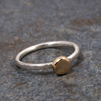 Silver and 14K Gold Disc Ring - Emma's Jewelry Box