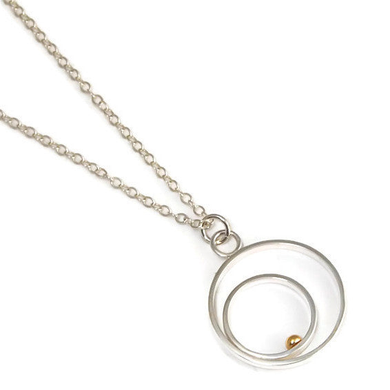 Double Round Silver and Gold Pendant