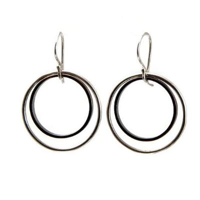 Black and Silver Hoop Earrings - Emma's Jewelry Box