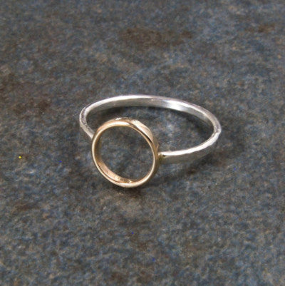 Silver and Gold Circle Ring - Emma's Jewelry Box