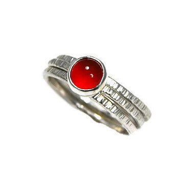 Carnelian Bark Ring Stack - Emma's Jewelry Box