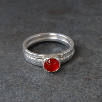 Carnelian Bark Ring Stack