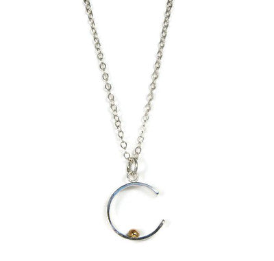 Silver and Gold Crescent Necklace - Emma's Jewelry Box