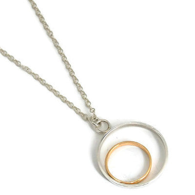 Silver and Gold Circles Necklace