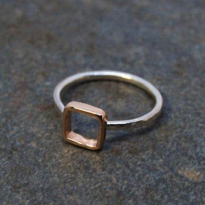 Rose Gold and Silver Square Ring - Emma's Jewelry Box