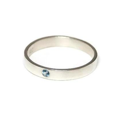 Emma Flush Set Blue Topaz Ring