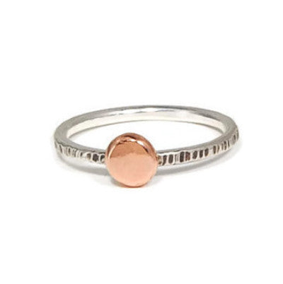 Silver and Rose Gold Disc Ring
