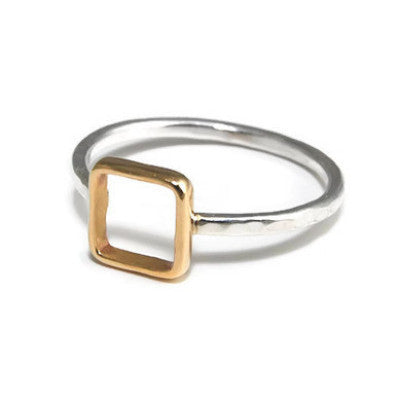 Silver and Gold Square Ring - Emma's Jewelry Box