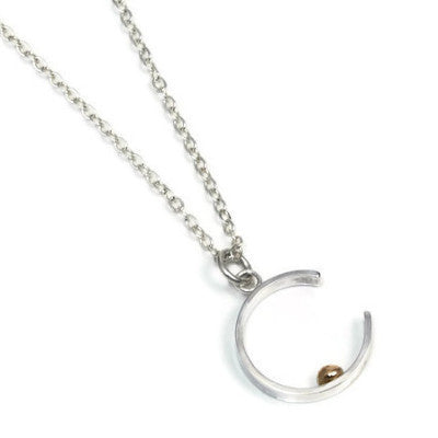 Silver and Gold Crescent Necklace