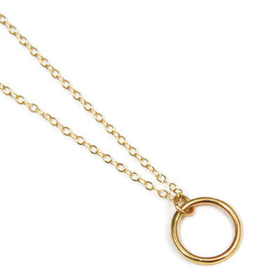 Small 14K Gold Circle Necklace