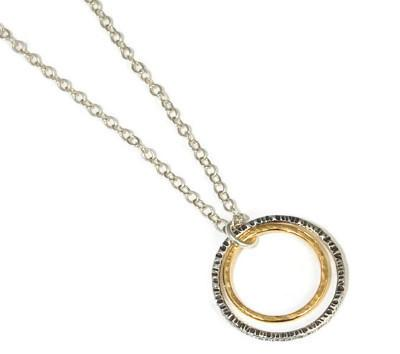 14K Gold and Silver Double Hoop Necklace - Emma's Jewelry Box