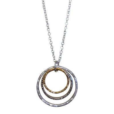 Silver and Gold Triple Hoop Necklace
