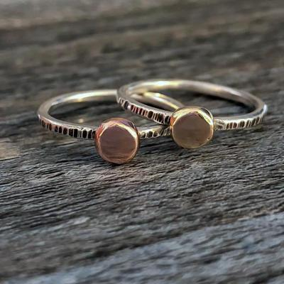 Silver and Rose Gold Disc Ring - Emma's Jewelry Box