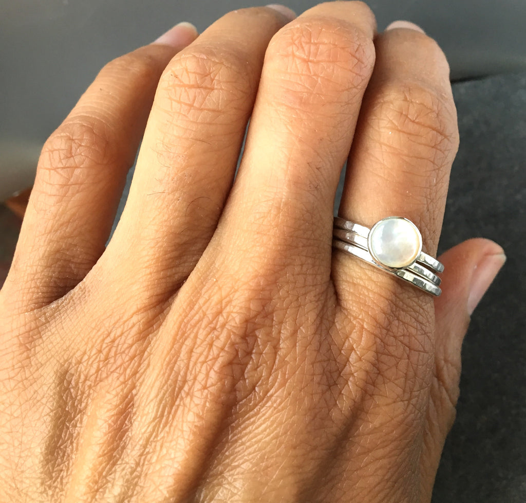 Mother of Pearl Stack Ring Set