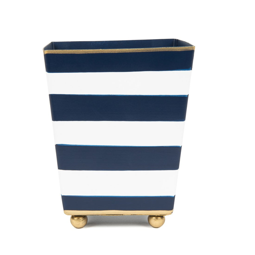 "Navy Stripe 4"" Square Cachepot"