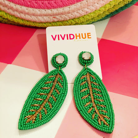 Seed Bead Banana Leaf Earring
