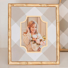 Buffalo Plaid 4x6 Photo Frame In White + Taupe