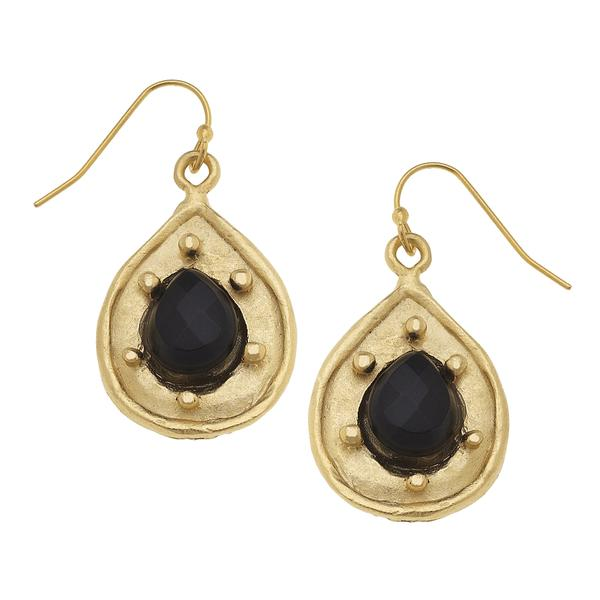 Semi Precious Tear Drop Black Onyx Earring 1149