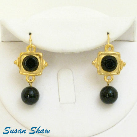 Handcast Gold with Black Onyx Drop Earrings