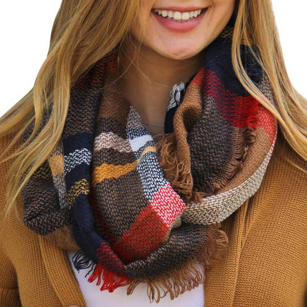 Copper Gold Navy Plaid Infinity Scarf