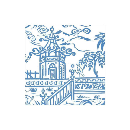 Blue Pagoda Toile Paper Cocktail Napkin